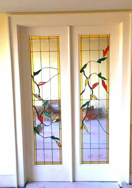 Leaves French Doors Mclean Stained Glass Studios
