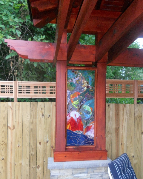 KOI POND panel installed in pool house bar