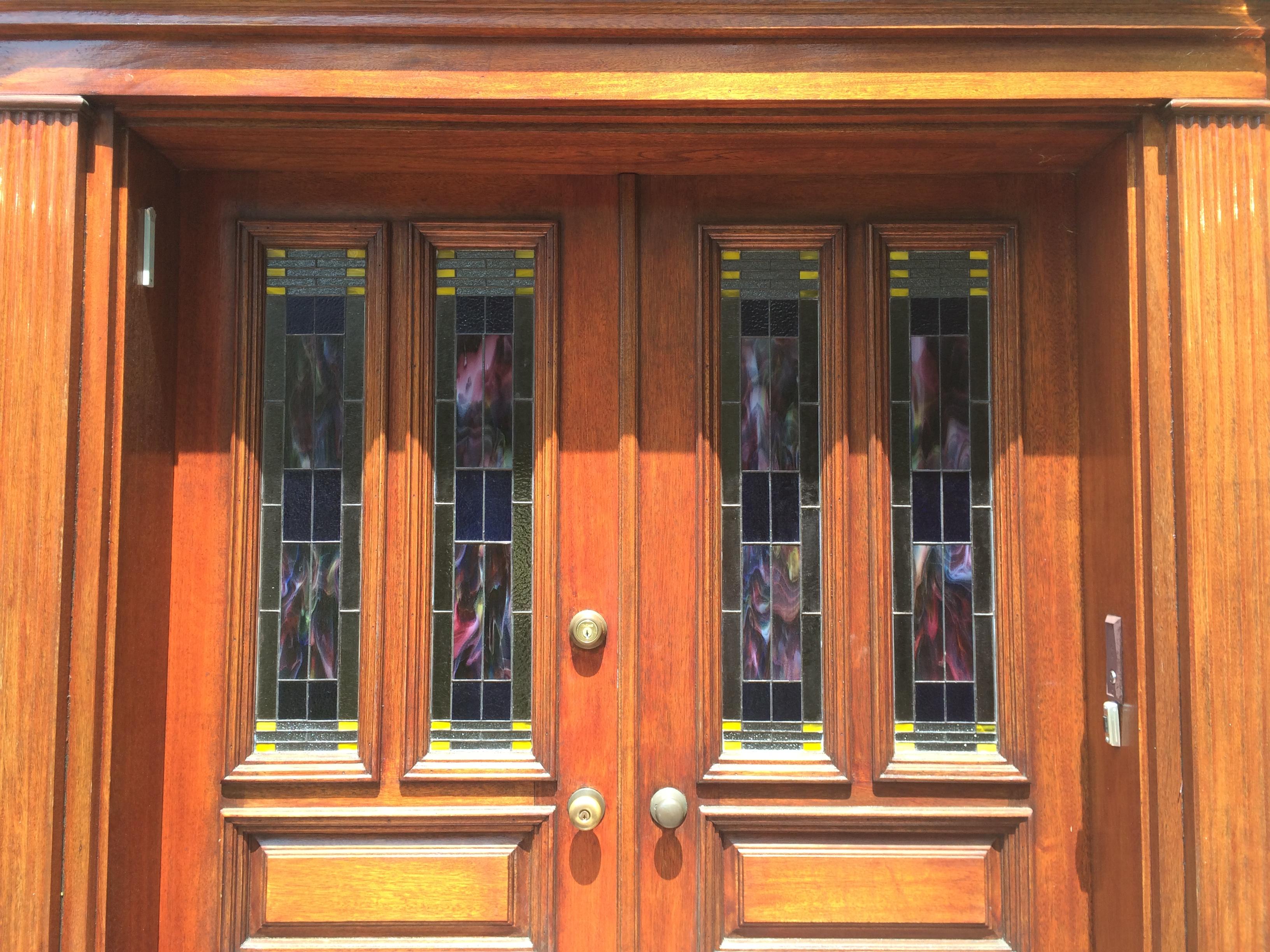 Arts Crafts Entryway Door Panels Mclean Stained Glass Studios