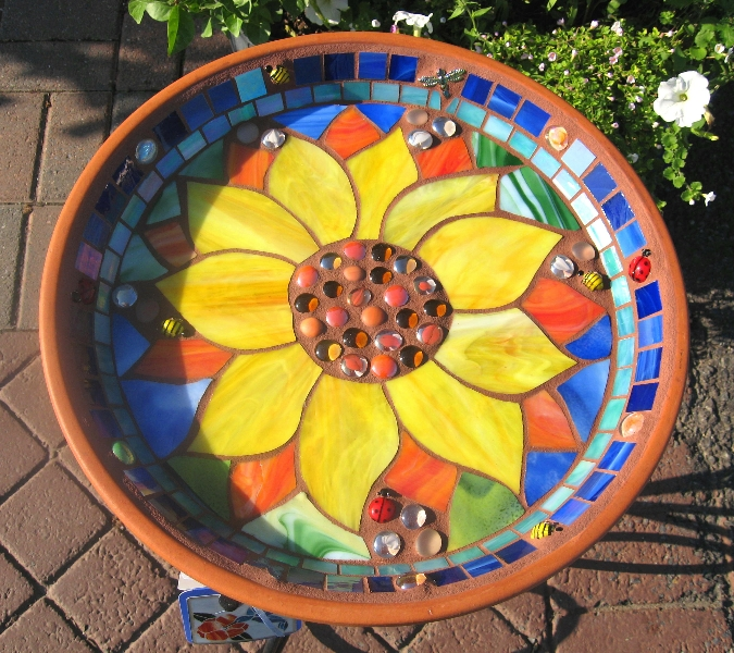 ORANGE SUNFLOWER Birdbath