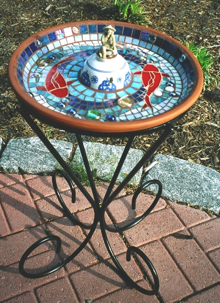 CHINESE BIRDBATH and CUSTOM WROUGHT IRON STAND