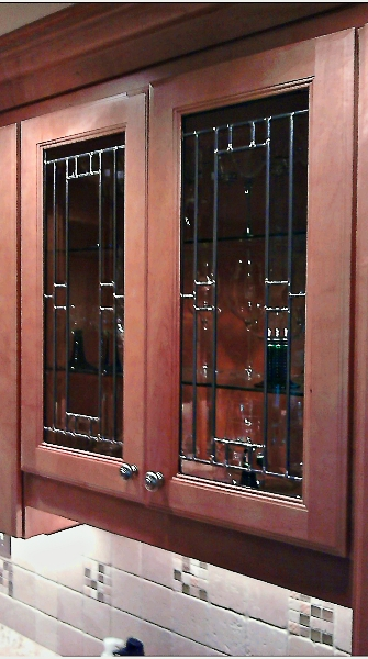 Custom leaded beveled glass kitchen cabinet panels for Beveled glass kitchen cabinets