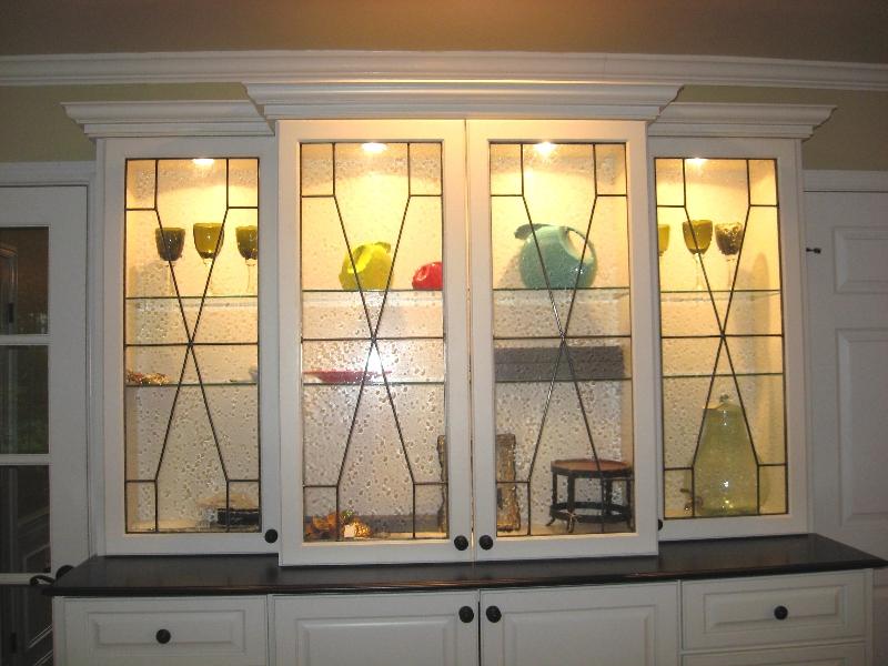 Custom Leaded Beveled Glass Kitchen Cabinet Panels