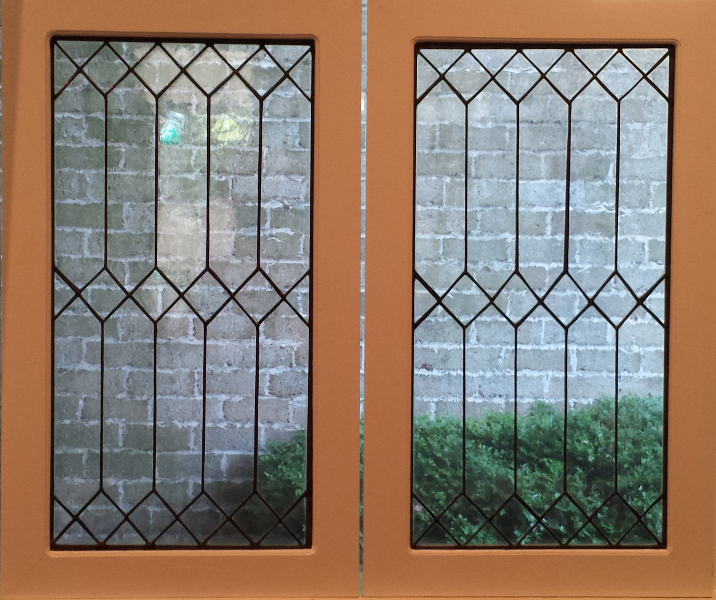 Cabinet panels mclean stained glass studios for Beveled glass kitchen cabinets
