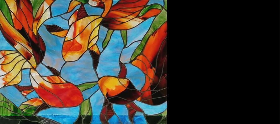 Three Koi Stained Glass