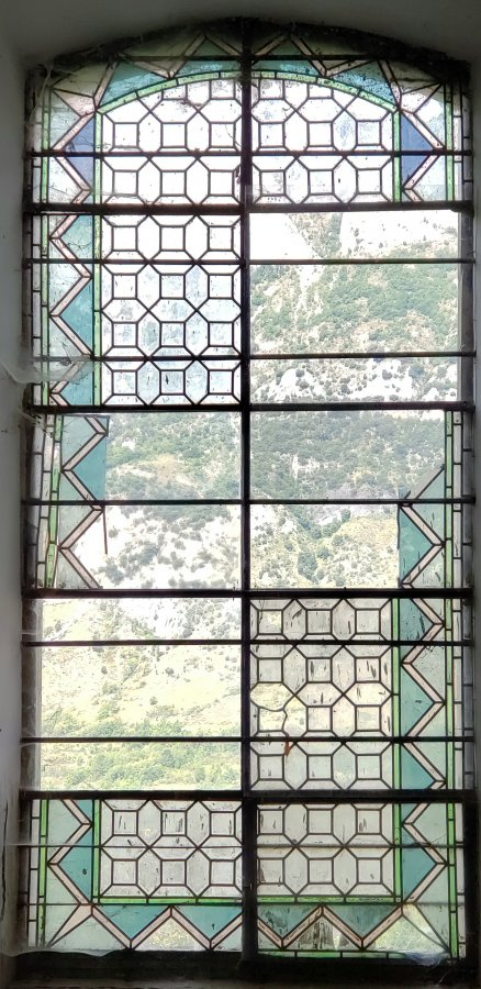 280 year old stained glass window (one of two).