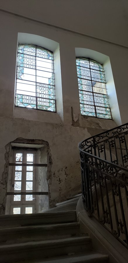 View of windows from staircase