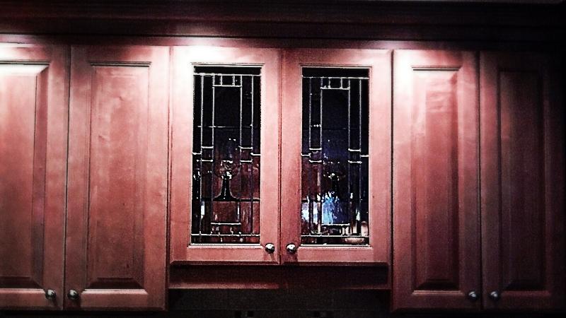 Custom Leaded Beveled Glass Kitchen Cabinet Panels ...