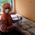 Pamela dismantling the broken panel