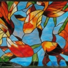 Three Koi Stained Glass